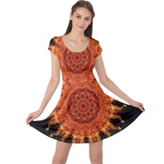 Flaming Sun Cap Sleeve Dresses
