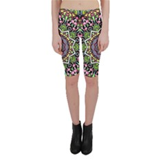 Psychedelic Leaves Mandala Cropped Leggings by Zandiepants
