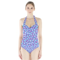 Purple Blue Cubes Women s Halter One Piece Swimsuit