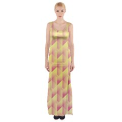 Geometric Pink & Yellow  Maxi Thigh Split Dress by Zandiepants