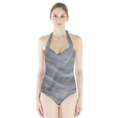 Gray Fog Women s Halter One Piece Swimsuit by timelessartoncanvas