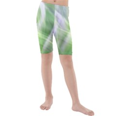 Green And Purple Fog Kid s Mid Length Swim Shorts by timelessartoncanvas