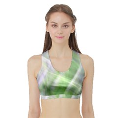 Green And Purple Fog Women s Sports Bra With Border by timelessartoncanvas