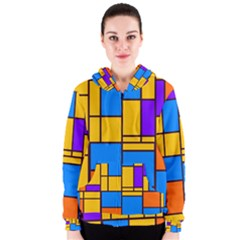 Retro Colors Rectangles And Squares Women s Zipper Hoodie by LalyLauraFLM