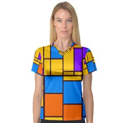 Retro Colors Rectangles And Squares Women s V Neck Sport Mesh Tee by LalyLauraFLM
