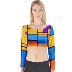 Retro Colors Rectangles And Squares Long Sleeve Crop Top by LalyLauraFLM