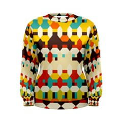 Shapes In Retro Colors  Women s Sweatshirt by LalyLauraFLM