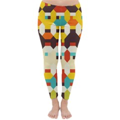 Shapes In Retro Colors Winter Leggings by LalyLauraFLM