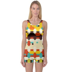 Shapes In Retro Colors Women s Boyleg One Piece Swimsuit by LalyLauraFLM