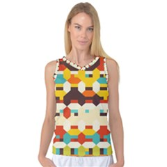 Shapes In Retro Colors Women s Basketball Tank Top by LalyLauraFLM