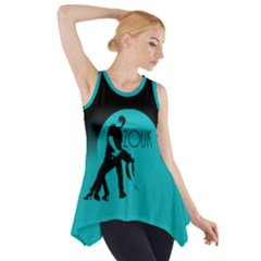 Zouk Blue Moon Side Drop Tank Tunic by LetsDanceHaveFun