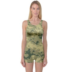 Greencamouflage One Piece Boyleg Swimsuit by LetsDanceHaveFun