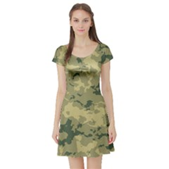 Greencamouflage Short Sleeve Skater Dresses by LetsDanceHaveFun