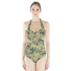 Greencamouflage Women s Halter One Piece Swimsuit by LetsDanceHaveFun