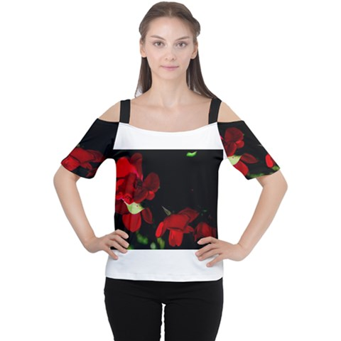 Roses 2 Women s Cutout Shoulder Tee by timelessartoncanvas