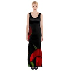 Roses 2 Maxi Thigh Split Dress by timelessartoncanvas