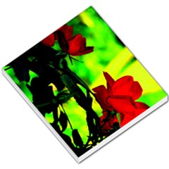 Red Roses And Bright Green 1 Small Memo Pads by timelessartoncanvas