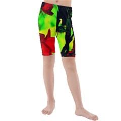 Red Roses And Bright Green 1 Kid s Mid Length Swim Shorts by timelessartoncanvas
