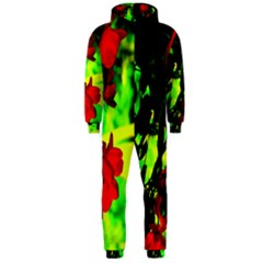 Red Roses And Bright Green 1 Hooded Jumpsuit (men)  by timelessartoncanvas