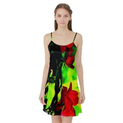 Red Roses And Bright Green 1 Satin Night Slip by timelessartoncanvas