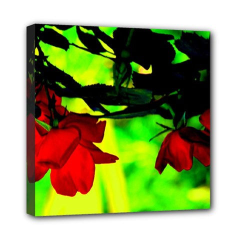 Red Roses And Bright Green 2 Mini Canvas 8  X 8  by timelessartoncanvas