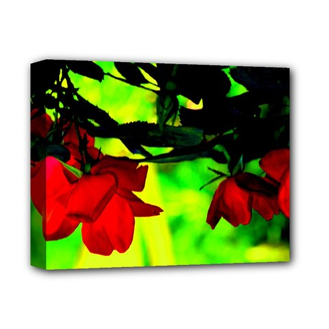 Red Roses And Bright Green 2 Deluxe Canvas 14  X 11  by timelessartoncanvas
