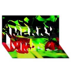 Red Roses And Bright Green 2 Merry Xmas 3d Greeting Card (8x4)  by timelessartoncanvas