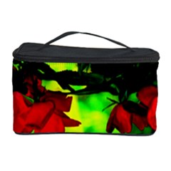 Red Roses And Bright Green 2 Cosmetic Storage Cases by timelessartoncanvas