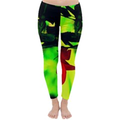 Red Roses And Bright Green 2 Winter Leggings  by timelessartoncanvas