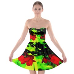 Red Roses And Bright Green 2 Strapless Dresses by timelessartoncanvas