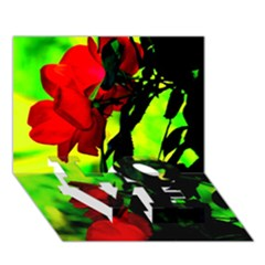 Red Roses And Bright Green 3 Love Bottom 3d Greeting Card (7x5)  by timelessartoncanvas