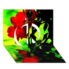 Red Roses And Bright Green 3 Peace Sign 3d Greeting Card (7x5)  by timelessartoncanvas