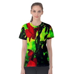 Red Roses And Bright Green 3 Women s Cotton Tee by timelessartoncanvas
