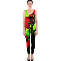 Red Roses And Bright Green 3 Onepiece Catsuit by timelessartoncanvas