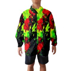 Red Roses And Bright Green 3 Wind Breaker (kids) by timelessartoncanvas