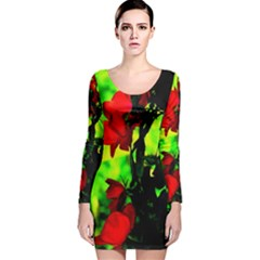 Red Roses And Bright Green 3 Long Sleeve Velvet Bodycon Dress by timelessartoncanvas