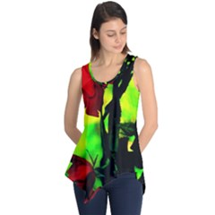 Red Roses And Bright Green 3 Sleeveless Tunic by timelessartoncanvas