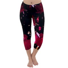 Pink Roses Capri Winter Leggings  by timelessartoncanvas