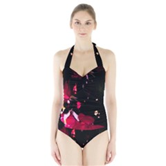Pink Roses Women s Halter One Piece Swimsuit by timelessartoncanvas