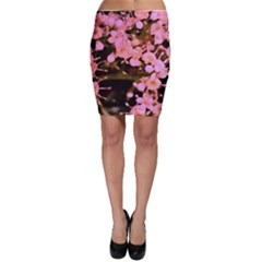 Little Mauve Flowers Bodycon Skirts by timelessartoncanvas