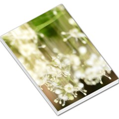 Little White Flowers Large Memo Pads by timelessartoncanvas