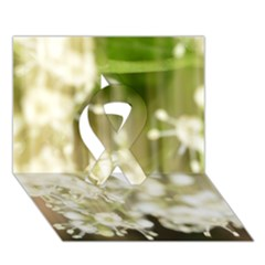 Little White Flowers Ribbon 3d Greeting Card (7x5)  by timelessartoncanvas
