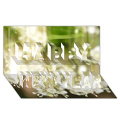 Little White Flowers Happy New Year 3d Greeting Card (8x4)  by timelessartoncanvas