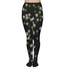 Little White And Green Dots Women s Tights by timelessartoncanvas