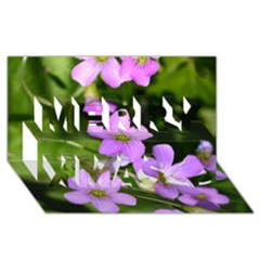 Little Purple Flowers Merry Xmas 3d Greeting Card (8x4)  by timelessartoncanvas