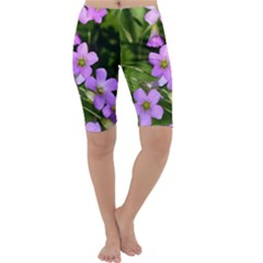 Little Purple Flowers Cropped Leggings by timelessartoncanvas