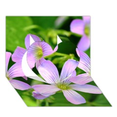 Little Purple Flowers 2 Heart 3d Greeting Card (7x5)  by timelessartoncanvas