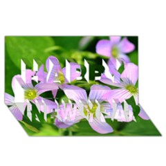 Little Purple Flowers 2 Happy New Year 3d Greeting Card (8x4)  by timelessartoncanvas
