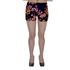 Little Peach And Pink Flowers Skinny Shorts by timelessartoncanvas
