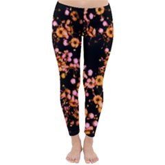 Little Peach And Pink Flowers Winter Leggings  by timelessartoncanvas